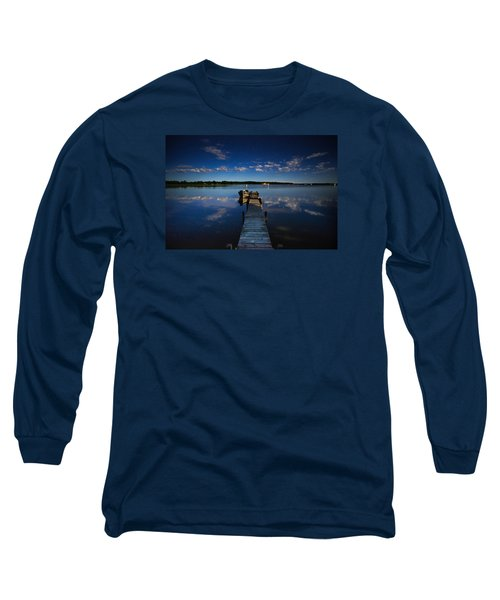 Midnight At Shady Shore On Moose Lake Minnesota Long Sleeve T-Shirt by Alex Blondeau