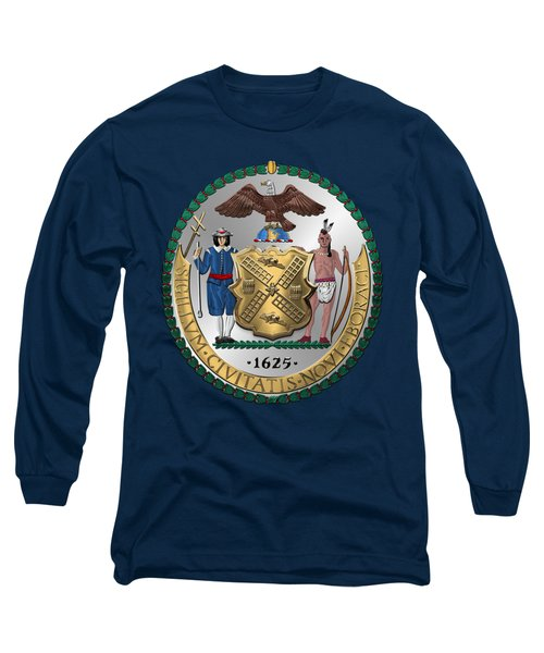 New York City Coat Of Arms - City Of New York Seal Over Blue Velvet Long Sleeve T-Shirt by Serge Averbukh