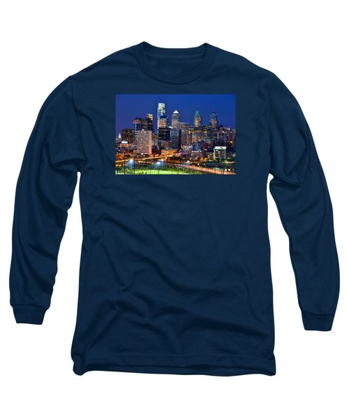 Philadelphia Skyline At Night Long Sleeve T-Shirt by Jon Holiday