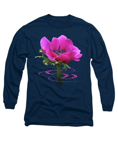 Pink Anemone Whirl Long Sleeve T-Shirt by Gill Billington