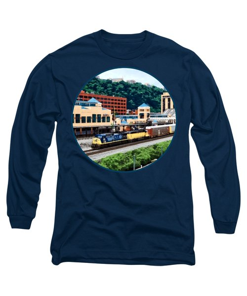 Pittsburgh Pa - Freight Train Going By Station Square Long Sleeve T-Shirt by Susan Savad