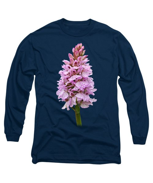 Radiant Wild Pink Spotted Orchid Long Sleeve T-Shirt by Gill Billington