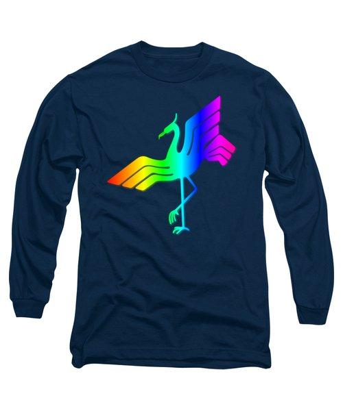 Rainbow Stork Long Sleeve T-Shirt by Frederick Holiday