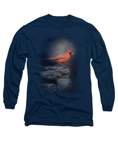 Redbird On The Rocks Long Sleeve T-Shirt by Jai Johnson