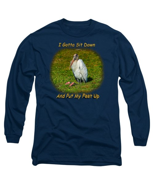 Resting Woodstork Long Sleeve T-Shirt by John M Bailey