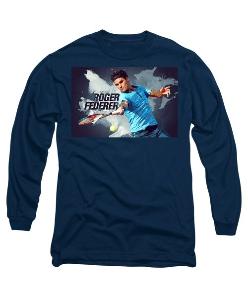 Roger Federer Long Sleeve T-Shirt by Semih Yurdabak