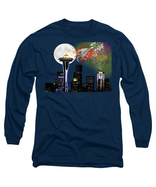 Seattle Skyline Long Sleeve T-Shirt by Methune Hively