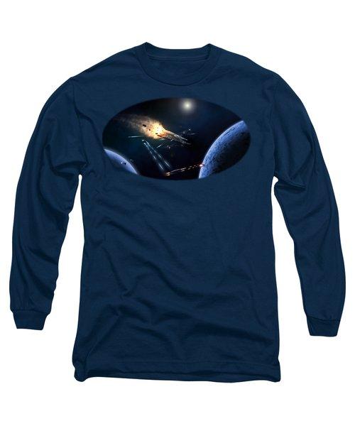 Space Battle I Long Sleeve T-Shirt by Carlos M R Alves