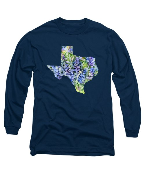 Texas Blue Texas Map On White Long Sleeve T-Shirt by Hailey E Herrera