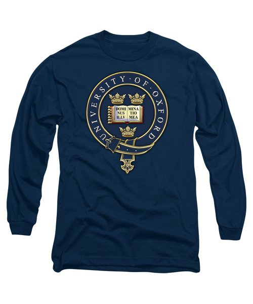 University Of Oxford Seal - Coat Of Arms Over Colours Long Sleeve T-Shirt by Serge Averbukh