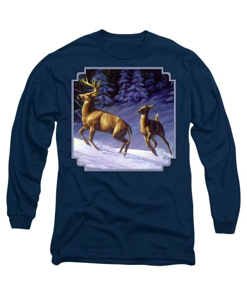 Whitetail Deer Painting - Startled Long Sleeve T-Shirt by Crista Forest