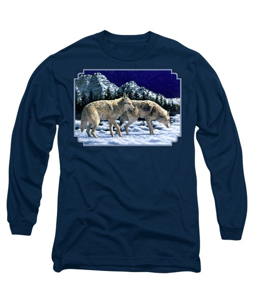 Wolves - Unfamiliar Territory Long Sleeve T-Shirt by Crista Forest