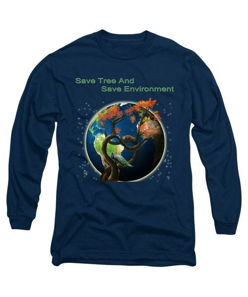 World Needs Tree Long Sleeve T-Shirt by Artist Nandika  Dutt