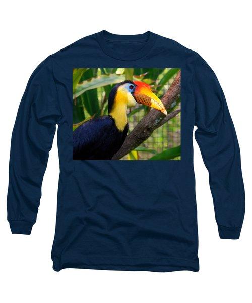 Wrinkled Hornbill Long Sleeve T-Shirt by Susanne Van Hulst
