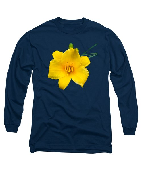 Yellow Daylily Flower Long Sleeve T-Shirt by Christina Rollo