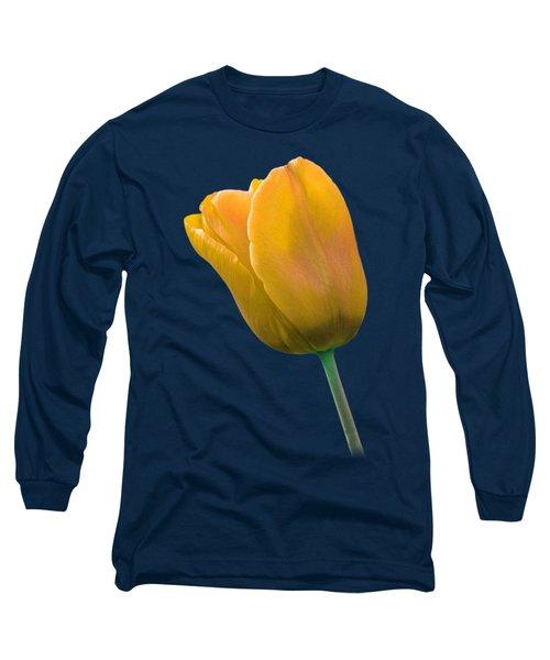 Yellow Tulip On Black Long Sleeve T-Shirt by Gill Billington