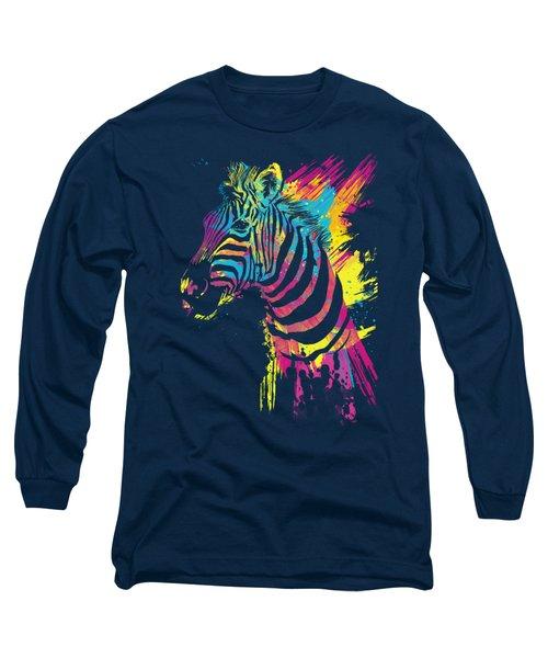 Zebra Splatters Long Sleeve T-Shirt by Olga Shvartsur