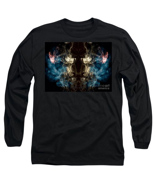 Minotaur Smoke Abstract Long Sleeve T-Shirt by Edward Fielding