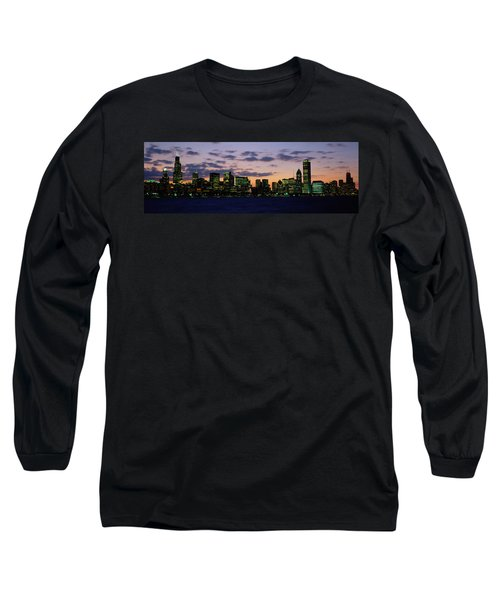 Buildings In A City At Dusk, Chicago Long Sleeve T-Shirt by Panoramic Images