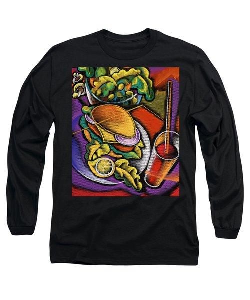 Dinner Long Sleeve T-Shirt by Leon Zernitsky