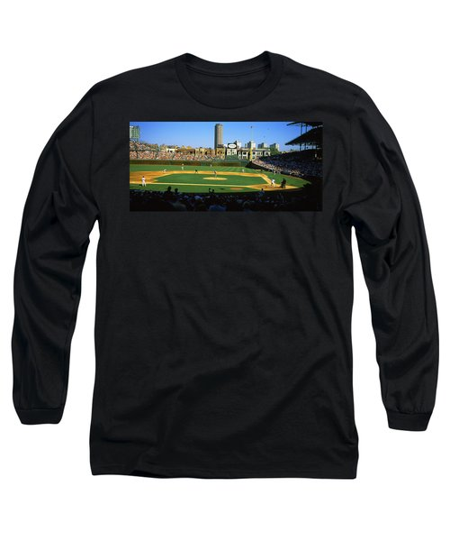 Spectators In A Stadium, Wrigley Field Long Sleeve T-Shirt by Panoramic Images