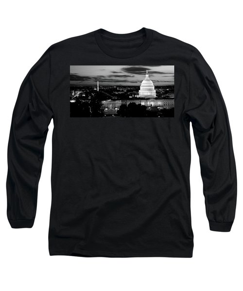 High Angle View Of A City Lit Long Sleeve T-Shirt by Panoramic Images