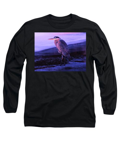 A Heron On The Moyie River Long Sleeve T-Shirt by Jeff Swan