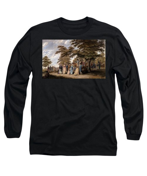 An Airing In Hyde Park, 1796 Long Sleeve T-Shirt by Edward Days