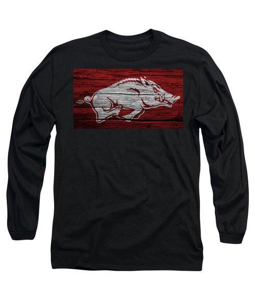 Arkansas Razorbacks On Wood Long Sleeve T-Shirt by Dan Sproul