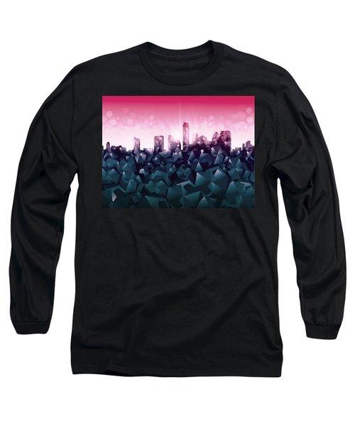 Austin Skyline Geometry 2 Long Sleeve T-Shirt by Bekim Art