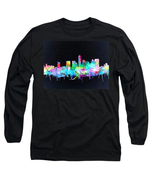 Austin Texas Skyline Watercolor 3 Long Sleeve T-Shirt by Bekim Art