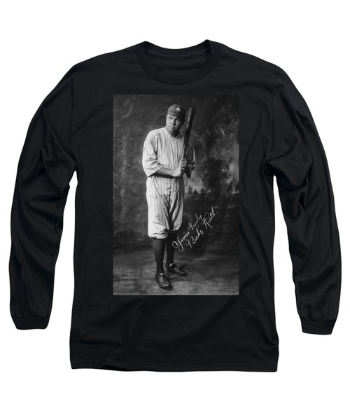 Babe 'the Sultan Of Swat' Ruth  1920 Long Sleeve T-Shirt by Daniel Hagerman