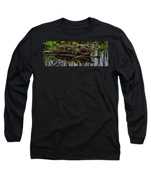 Baby Alligators Reflection Long Sleeve T-Shirt by Dan Sproul