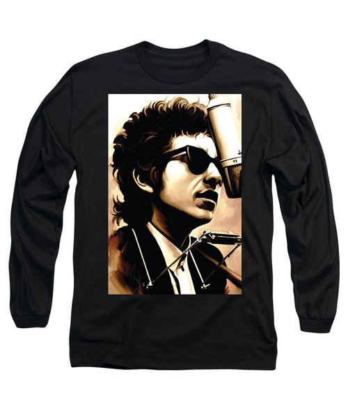 Bob Dylan Artwork 3 Long Sleeve T-Shirt by Sheraz A