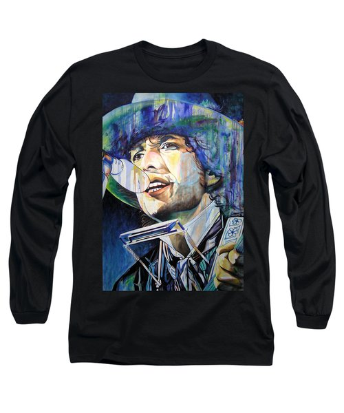 Bob Dylan Tangled Up In Blue Long Sleeve T-Shirt by Joshua Morton