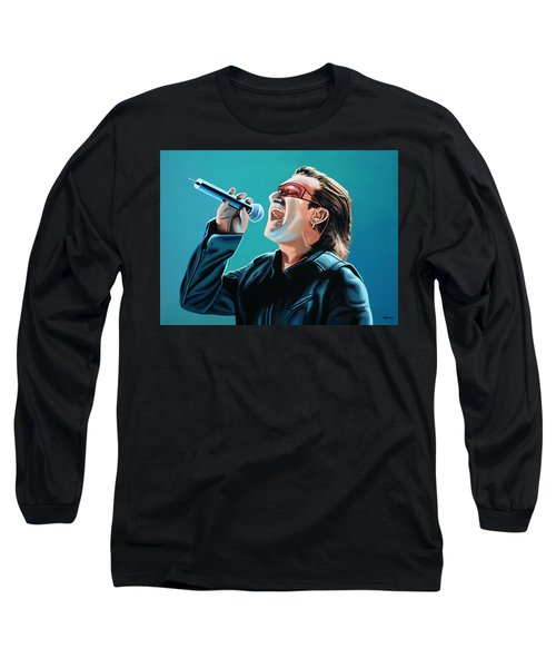 Bono Of U2 Painting Long Sleeve T-Shirt by Paul Meijering