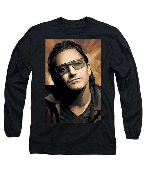 Bono U2 Artwork 2 Long Sleeve T-Shirt by Sheraz A