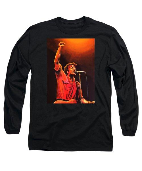 Bruce Springsteen Painting Long Sleeve T-Shirt by Paul Meijering