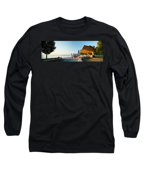 Chicago Lakefront Panorama Long Sleeve T-Shirt by Steve Gadomski