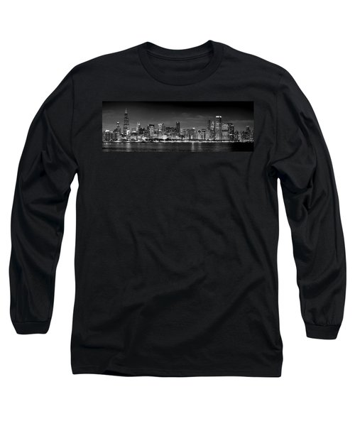 Chicago Skyline At Night Black And White Long Sleeve T-Shirt by Jon Holiday