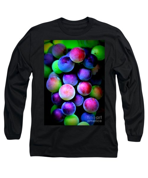 Colorful Grapes - Digital Art Long Sleeve T-Shirt by Carol Groenen