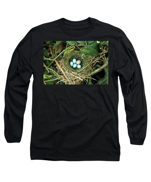 Common Cuckoo Cuculus Canorus Egg Laid Long Sleeve T-Shirt by Jean Hall