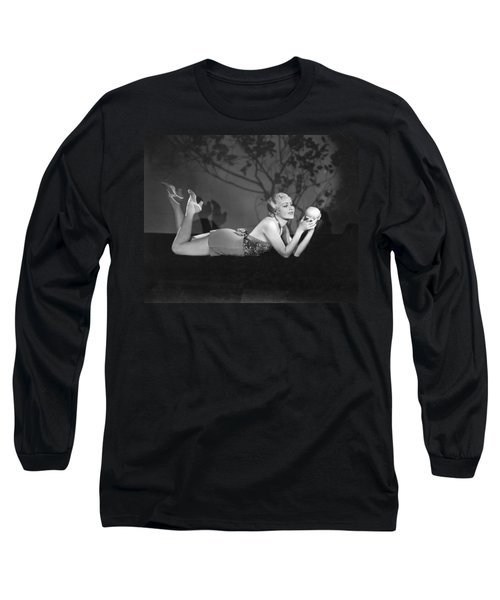 Contemplating A Grapefruit Long Sleeve T-Shirt by Elmer Fryer