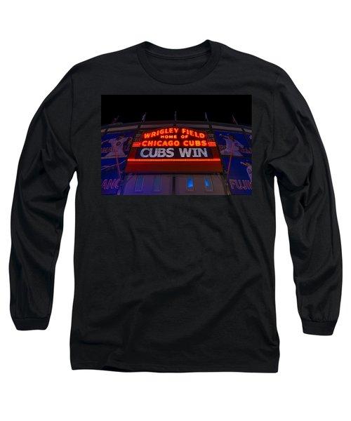 Cubs Win Long Sleeve T-Shirt by Steve Gadomski