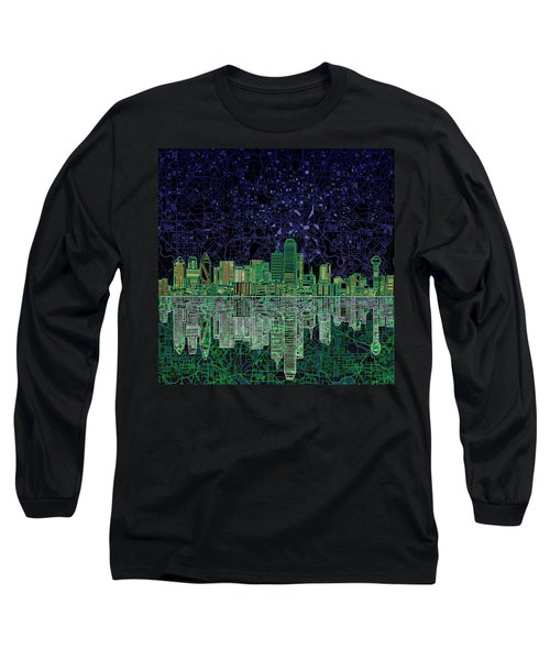 Dallas Skyline Abstract 4 Long Sleeve T-Shirt by Bekim Art