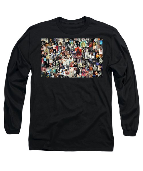 David Bowie Collage Long Sleeve T-Shirt by Taylan Apukovska