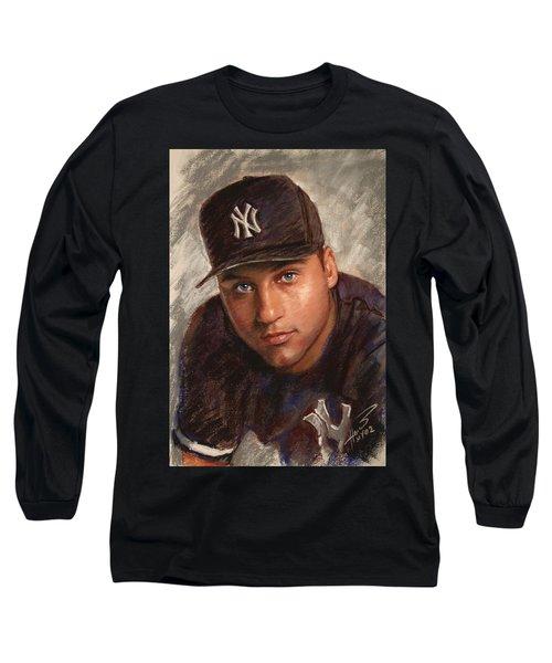 Derek Jeter Long Sleeve T-Shirt by Viola El