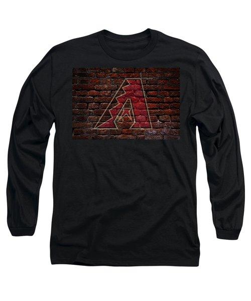 Diamondbacks Baseball Graffiti On Brick  Long Sleeve T-Shirt by Movie Poster Prints