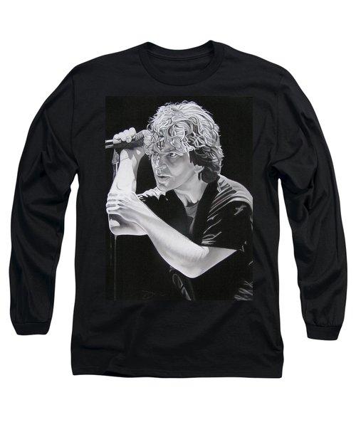 Eddie Vedder Black And White Long Sleeve T-Shirt by Joshua Morton