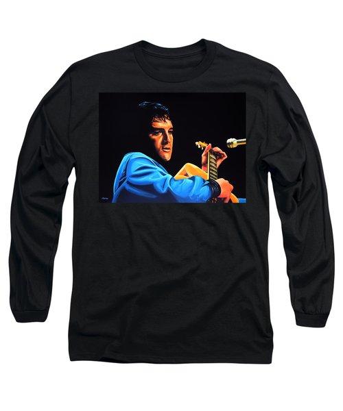 Elvis Presley 2 Painting Long Sleeve T-Shirt by Paul Meijering